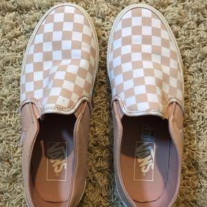 Light pink checkered VANS